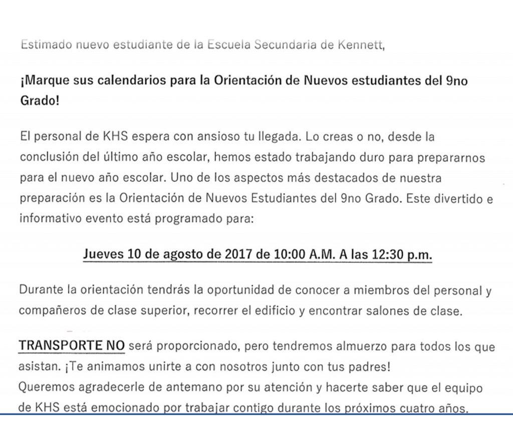 Orientation Information (Spanish Version)