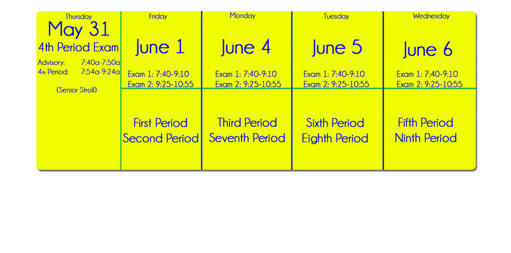 Senior Final Exam Schedule