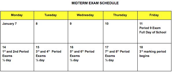Midterm Exam Calendar