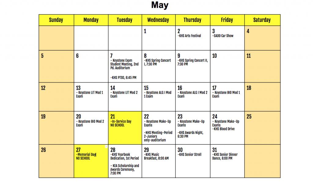 May 2019 KHS Calendar